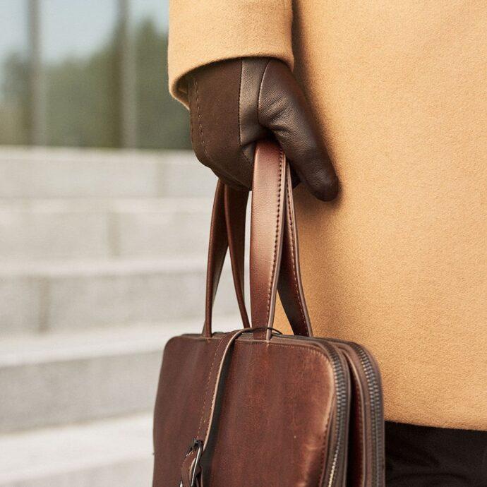 Eleganckie brązowe męskie rękawiczki