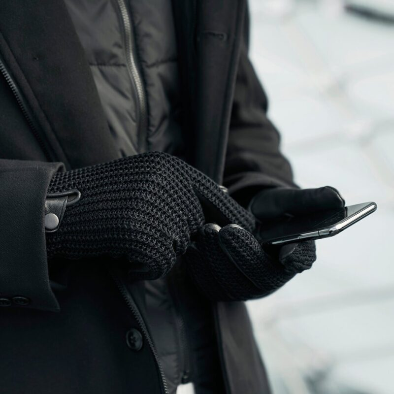 Czarne wełniane rękawiczki męskie