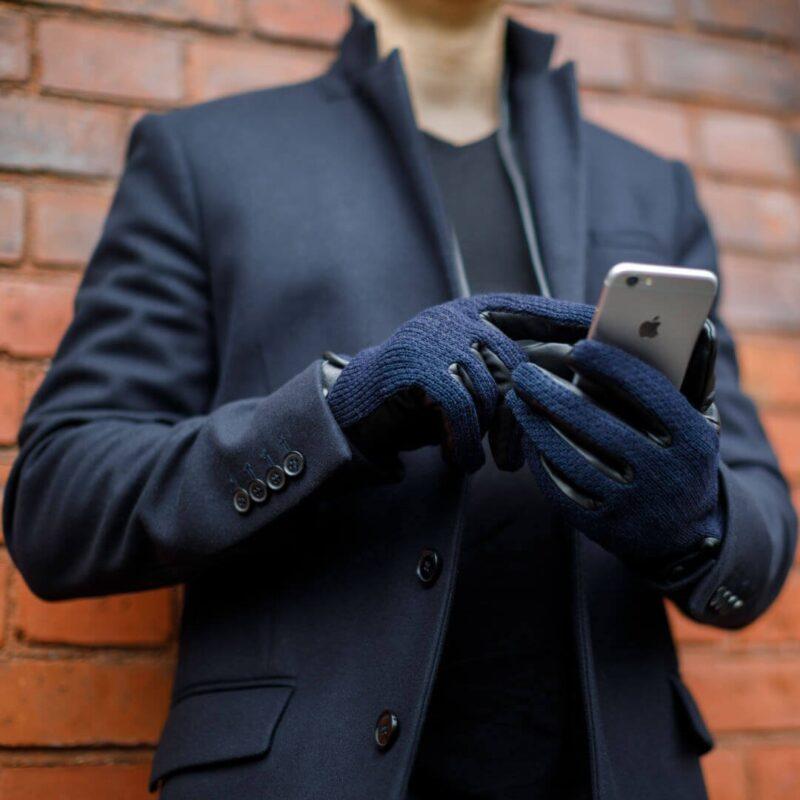 Granatowe męskie rękawiczki napoWOOL
